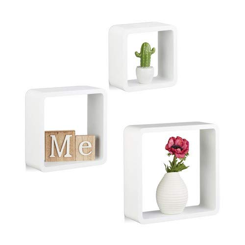 Relaxdays 10021793_49 set 3 mensole cubo da parete, pensili, quadrate, legno mdf, bianco