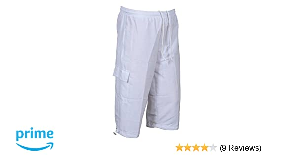 7f3438c9d8b Sterling Sports Mens 3 4 Length Tracksuit Bottoms Mesh Lining Silky Gym  Jogging White Short Summer Holidays Beach Shorts