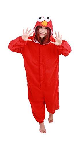 Für Kostüm Mike Erwachsene Wazowski - Unisex Disney Zeichentrickfiguren Schlumpf Ausländer Mike Wazowski Elmo Sully keks Monster Onesie Kigurumi Pyjama Karneval Kostüm Maskenkostüm Kapuzenpulli Schlafanzüge Elmo, L(Height 170cm-180cm)