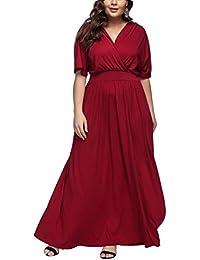 FeelinGirl Mujer Vestido de Noche Encaje Largo Traje Talla Extra Grande