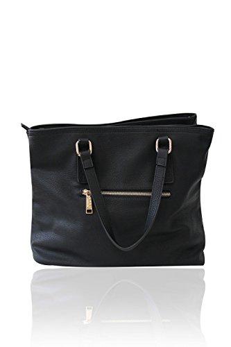LYDC London Damen Handtasche PU-Leder Schultertasche Schwarz