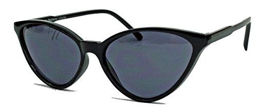 kleinere filigrane Damen Brille im 50er 60er Jahre Cat Eye Stil Sonnenbrille oder Nerdbrille C78 (Schwarz/Smoke)