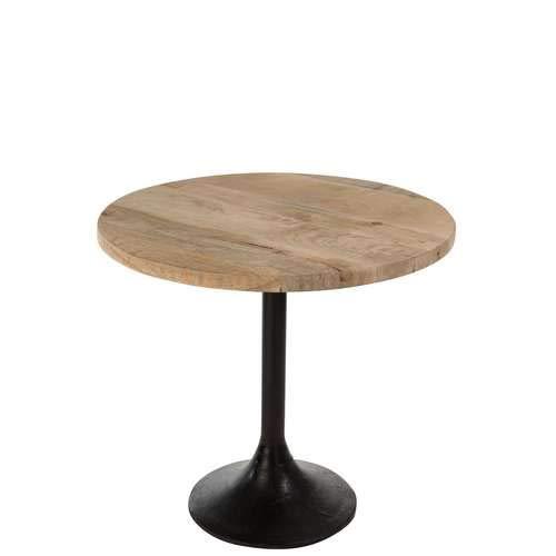Jolipa Table Bar Rond Bois/Metal Naturel/Noir