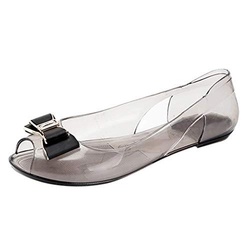 iLPM5 Damen Sommer Mode Niedlich Schmetterling-Knoten Strass Transparent Kristall Sandalen Flache Quallen Mund Freizeitschuhe(Schwarz,38)