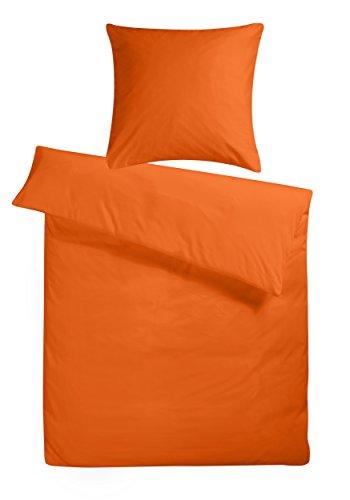 """Mako-Satin Bettwäsche-Set """"Uni"""" 155x220 cm Orange - Bettdecke und Kopfkissen-Bezug aus Satin-Baumwolle - Der schöne & einfarbige Bett-Bezug mit leichtem Glanz für das ganze Jahr"""