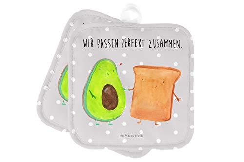 Mr. & Mrs. Panda Topflappen Set, Handschuhe, 2er Set Topflappen Avocado + Toast mit Spruch - Farbe...