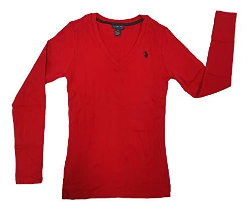 U.S. Polo Assn. Damen Ribbed V-Neck T-Shirt, Seeing Red, Mittel (Assn T-shirt Us Polo Frauen)