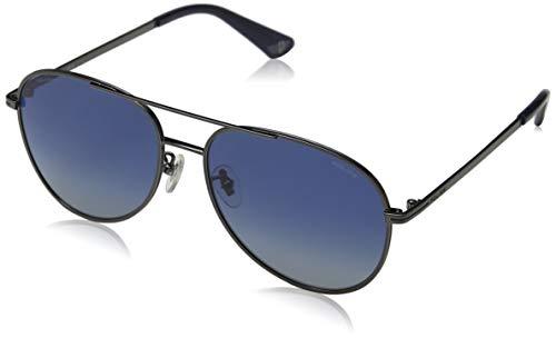 Police chief 1 occhiali da sole, grigio (shiny gun metal/blue), 58.0 uomo