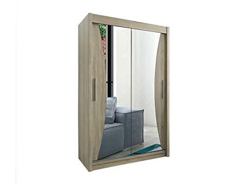 Kryspol Schwebetürenschrank Monaco 150 cm mit Spiegel Kleiderschrank mit Kleiderstange und Einlegeboden Schlafzimmer- Wohnzimmerschrank Schiebetüren Modern Design (Sonoma) -