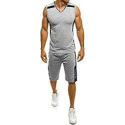 DAY.LIN Liquidation Débardeurs Hommes D'été Mode Casual Slim Fit Sport en Plein Air Gilet Grande Taille Court T-Shirt Gilet Tops Shorts Pantalon Costume(Medium,Gris)