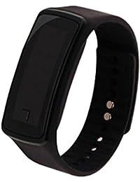 Los amantes de la moda deportes reloj de pulsera electrónica LED reloj de pulsera reloj unisex Negro