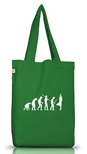 Shirtstreet24, EVOLUTION YOGA Jutebeutel Stoff Tasche Earth Positive Moss Green