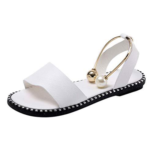 HILOTU Frauen Breite Sommer Flache Sandalen - Open Toe One Band Knöchelriemen Flexible Niedliche Schuhe (Color : Weiß, Size : 37 EU) -