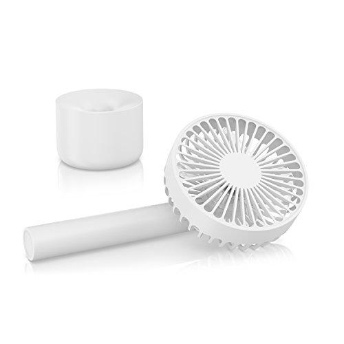 CSL - Ventilator Togo mit Akku - Handventilator USB Tischventilator Ventilator wiederaufladbar - 3-stufige Geschwindigkeitsregelung - Energiesparend nur 4W - LED-Anzeige - Hoher Luftdurchsatz - 1800mah Li-ion Notebook-akku