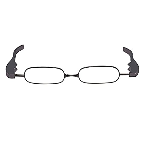 Skitic Applied Rotatable Folding Reading Glass Metal Frame Plastic Arms Oval Lens Individuality Presbyopic Glasses Universal Power/Diopter +1.0 +1.5 +2.0 +2.5 +3.0 +3.5 +4.0 for Unisex Women Man - Black