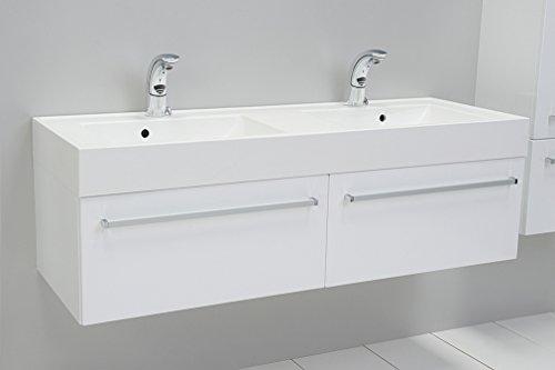 Quentis Doppelwaschplatz Aruva, Breite 140 cm, Waschplatzset 3-teilig, Waschbeckenunterbau mit zwei Schubladen, Front und Korpus weiß glänzend