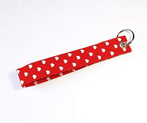 Kurzes Schlüsselband Herzen Rot mit Schlüsselring (Polka Weißen Rot Mit Dots)