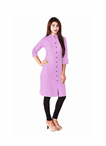 Kurti (Leriya Fashion Women\'s Cotton 3/4 sleeve Straight Pink Color Women Kurti)