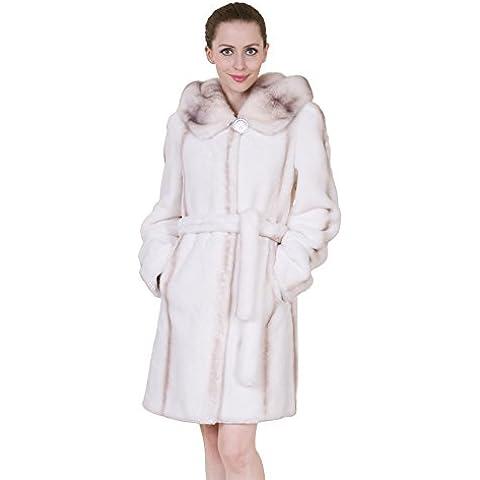 Adelaqueen Liquidazione Visone Cachemire Bianco Faux Fur Coat Delle Donne