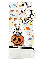Kassafina Will Do Tricks for Leckerlis, süßer Hund in Geisterkostüm, Set von Zwei Dekorativen Küchen-Gäste-Handtüchern (Niedliche Halloween Kostüme Für Zwei Freunde)