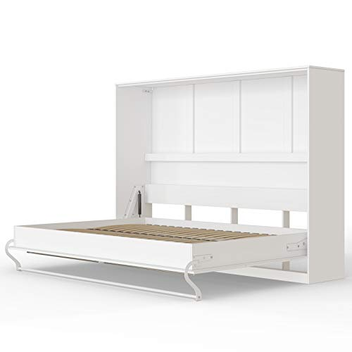 SMARTBett Standard 140x200 Horizontal Weiss Schrankbett | ausklappbares Wandbett, ideal geeignet als Wandklappbett fürs Gästezimmer, Büro, Wohnzimmer, Schlafzimmer