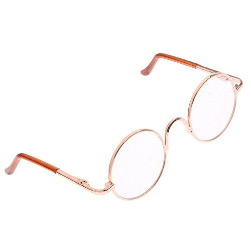 Baoblaze 1 Paar Miniatur Runde Metallrahmen Sonnenbrille Puppenbrille für 1/6 BJD Puppen Zubehör - Golden + Klar