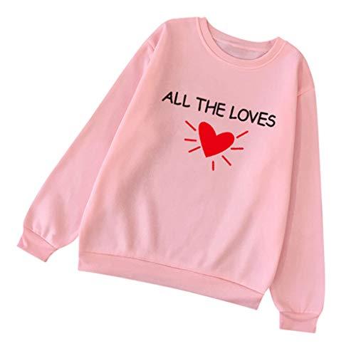 DOFENG Damen T Shirt Bluse Sweatshirt Damen Lange Ärmel Mode Locker Brief Liebe Herz Drucken Lässig O Neck Pullover Oberteil Tops (Rosa, - Erstellen Sie Ein Wolf Kostüm