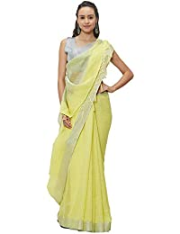 AKHILAM Women's Linen Saree with 2 Different Unstitched Blouse Pieces (Multi Coloured_Free Size)