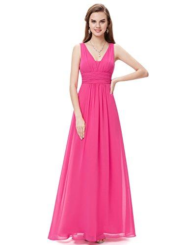 Ever Pretty Damen Chiffon V-Ausschnitt Lang Abendkleider Abschlussball Kleider Größe 38 Hellrosa