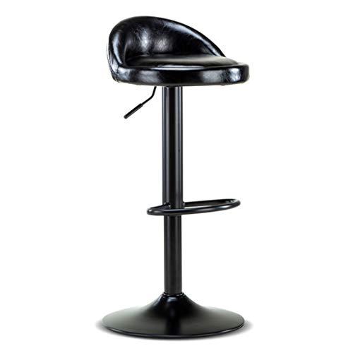 Moderner Barhocker-Stuhl-hoher Schemel Barhocker Round Chair Fußstütze mit PU Sitz Rückenlehne verstellbare Swivel Gas Lift 60~80cm für Frühstück Pub Café Barhocker Metallgestell Max. Laden Sie 15