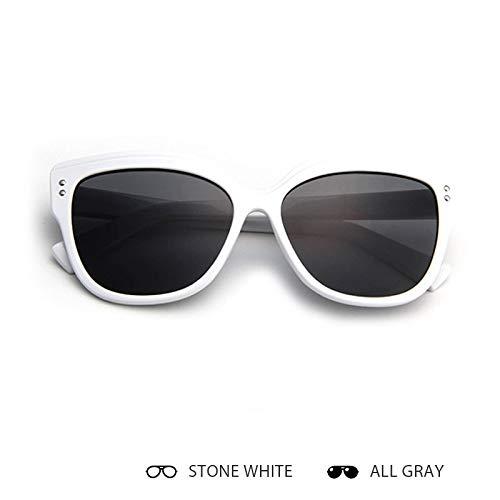 Aprigy - Katzenaugen-Sonnenbrille Frauen Retro Eyebrows Weibliche Sonnenbrillen Mann Feminino [Stein White Alle Grau]
