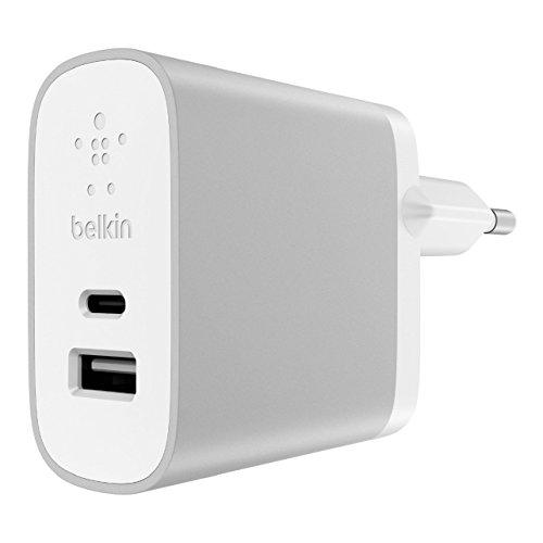 Belkin 2-Port USB-C- und USB-A-Netzladegerät (27W, 2-in-1 schnelles Laden über zwei Anschlüsse)Silber