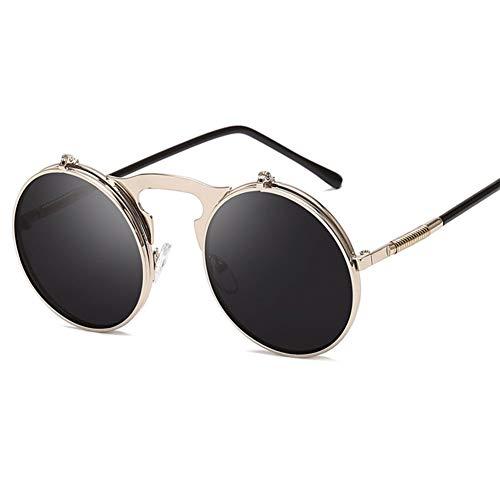 CjYTYJ Flip Up Sonnenbrille Frauen Männer Vintage Metallrahmen Runde Sonnenbrille Shades Eyewear