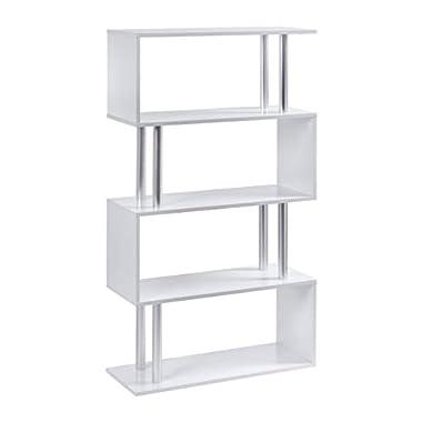 ts-ideen Design Raumteiler Regal Weiss Wand Hochregal Standregal Bücherregal Holz Weiß