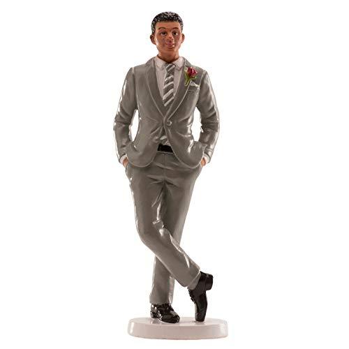Dekora Topper Figur für Hochzeitstorte Bräutigam im grauen Anzug in Resin -