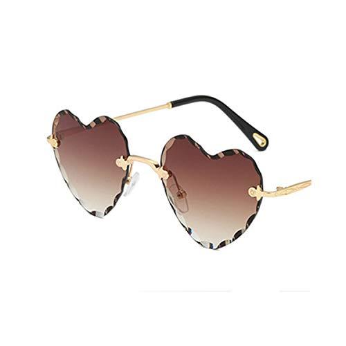 FGRYGF-eyewear2 Sport-Sonnenbrillen, Vintage Sonnenbrillen, Heart Rimless Modis Sunglasses Oculos Vintage Women Brand Designer NEW Trending Sun Glasses High Quality Festival Gift C8 Brown