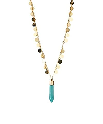 Lux Accessories Goldtone & Turquoise Agate Faceted Pendant Necklace