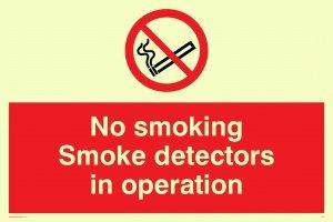 Viking Schilder ps7-a5l-pv No Smoking Rauchmelder in Operation Zeichen, Aufkleber, nachleuchtend,...