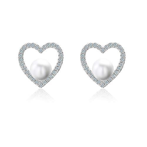 Ohrringe Silber,C'eitura Damen Ohrringe Perle Ohrstecker Ohrringe Set Basic 925 Sterling Silber für Freundin Mama (Bambus-ohrringe Silber Sterling)