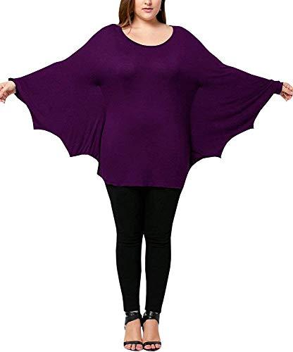 Ybenlover Damen Cosplay Tier T-Shirt Kostüm Fledermaus Ärmel Große Größen Halloween