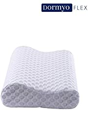 Dormyo Flex, Orthopedic Contour Ergonomic Cervical Pillow with gel infused cool Memory Foam(King size with Premium washable 400 GSM cover and 200 GSM inner cover),for back pain, neck pain and spondylitis, 2 years warranty, Suitable for Back Sleeper, Side Sleeper & Stomach Sleeper, comes with re-usable organic bag,Now Proudly Made in India