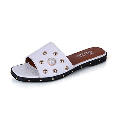ShangYi Sandaletten für Damen Damenschuhe-Sandalen-Lässig-Kunstleder-Flacher Absatz-Komfort-Blau / Rosa / Weiß , white-us6.5-7 / eu37 / uk4.5-5 / cn37 , white-us6.5-7 / eu37 / uk4.5-5 / cn37
