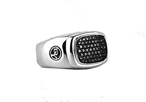 david-yurman-large-pave-noir-diamant-bague-chevalire-argent-neuf-sz-10nouveaux-520box