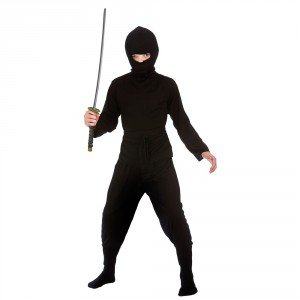 Boys Japanese Dark Ninja Shinobi Historical Halloween Party Fancy Dress Costume (Dark Ninja Kostüm)