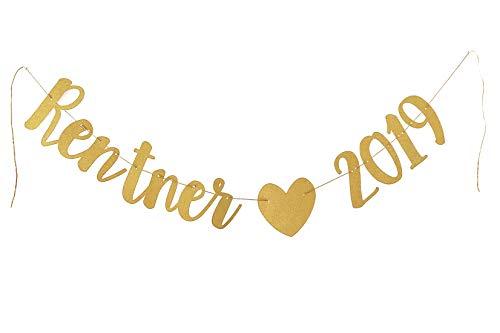 W.2 Rentner 2019 Girlande, Gold, stilvolle Party Dekoration für die Abschiedsfeier, Rente, Ruhestand