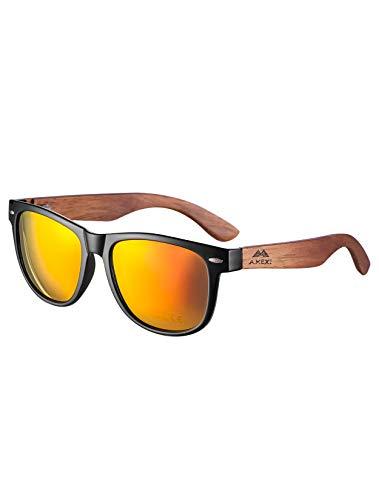 Amexi Herren und Damen Polarisierte Sonnenbrille mit Holzbügeln, UV-Schutz, mit Brillen-Etui, Schraubenzieher, Brillen tuch und Tasche(Orange2)