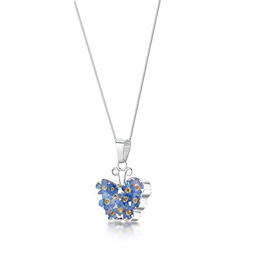 Sterling Silver Real Flower Pendant Necklace - Blue Forget-Me-Not - Butterfly - 18