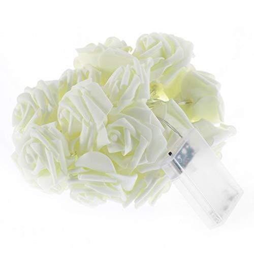 sdfghzsedfgsdfg 20LED Rose Fleur Fée de soirée de Mariage de Noël de vacances Décoration de lumières Festival de fil Chaîne Guirlande lumineuse Lampe Blanc Chaud