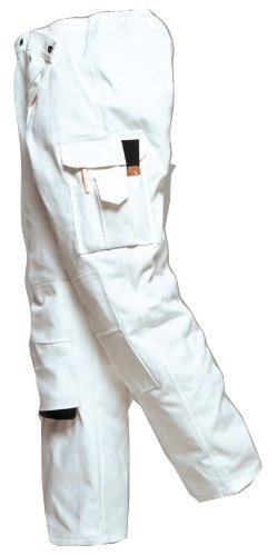 Maler Baumwolle Hose (Portwest - Herren Maler Hose S817 Baumwolle Mehrere Taschen - Weiß, XXL Langes Bein)