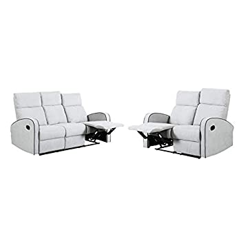 Furnituremaxi Boston Dove Grey Plush Fabric 3+2 Seater Recliner Sofa Set, one